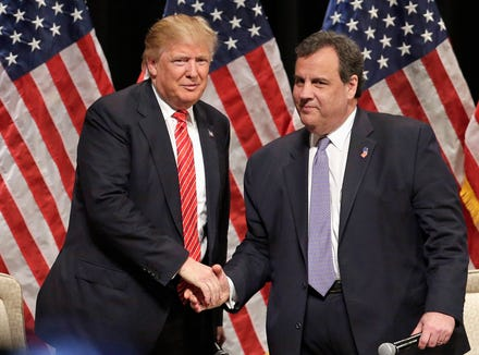 Republican presidential candidate Donald Trump shakes hands with New Jersey Gov. Chris Christie on March 14, 2016, in Hickory, N.C.