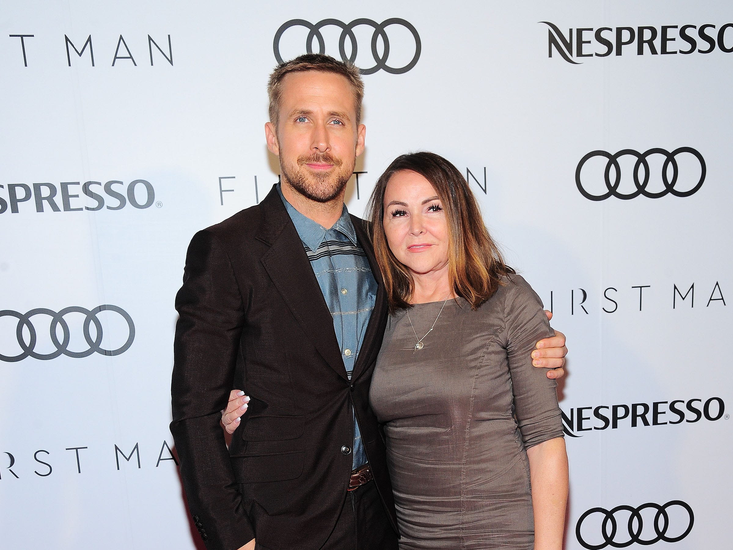 "TORONTO, ON - SEPTEMBER 10:  Ryan Gosling and Donna Gosling attends Audi Canada And Nespresso Co-Hosted Post-Screening Event For ""First Man"" During The Toronto International Film Festival  (Photo by Owen Hoffmann/Getty Images for Audi) ORG XMIT: 775218625 ORIG FILE ID: 1031078906"