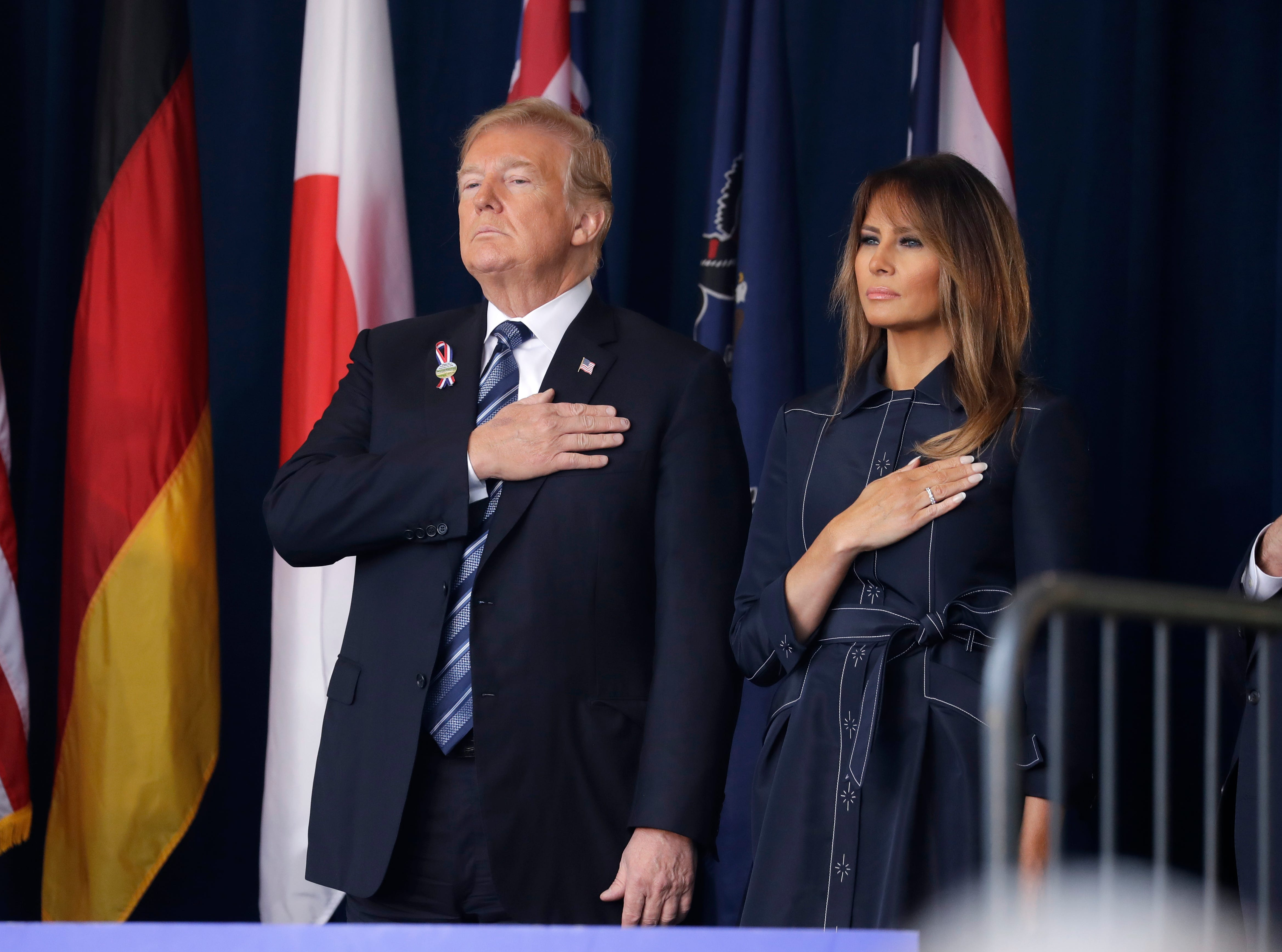 President Donald Trump and first lady Melania Trump participate in the September 11th Flight 93 Memorial Service in Shanksville, Pa.