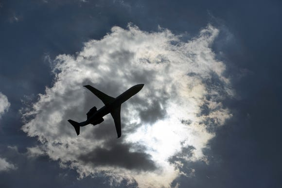 This file photo from July 24, 2015, shows a passenger jet after takeoff from the Reagan Washington National Airport in Arlington, Virginia.
