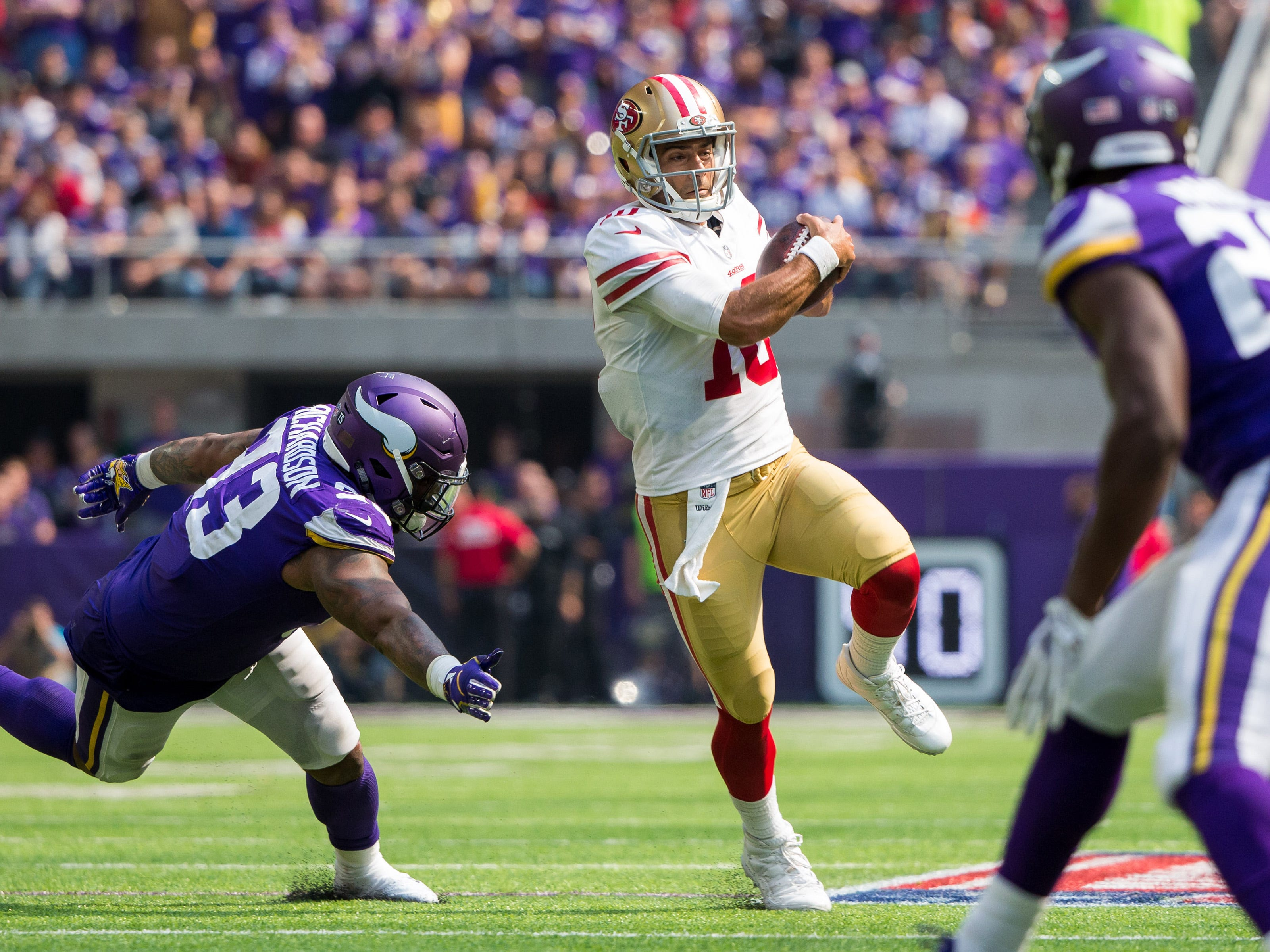 21. 49ers (23): Three INTs, sub-50% completion rate ... a LOSS. This is how the other half lives, Jimmy Garoppolo — not that we expect you to get used to it.