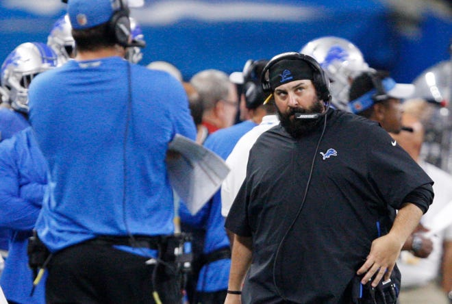 Matt Patricia looks on during a dismal season opener against the Jets.