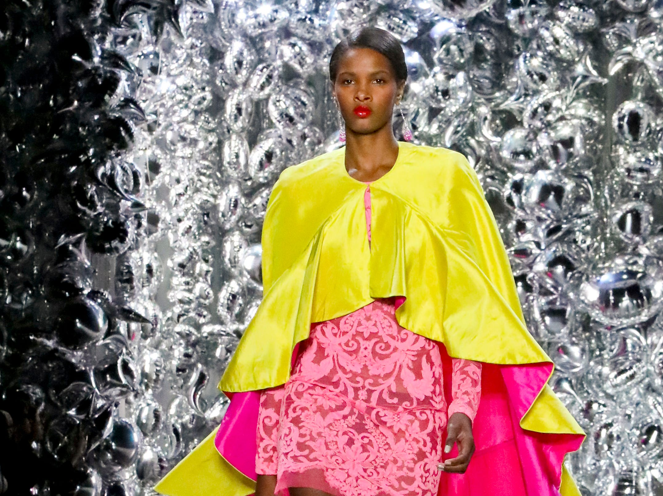 Fashion from the Naeem Khan collection is modeled during Fashion Week, Tuesday Sept. 11, 2018, in New York. (AP Photo/Bebeto Matthews) ORG XMIT: NYBM105