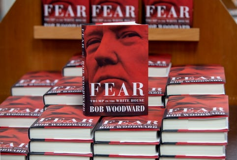 Copies of Washington Post journalist Bob Woodward's 'Fear, Trump in the White House' book are on display at Politics and Prose in Washington on Sept. 11, 2018.