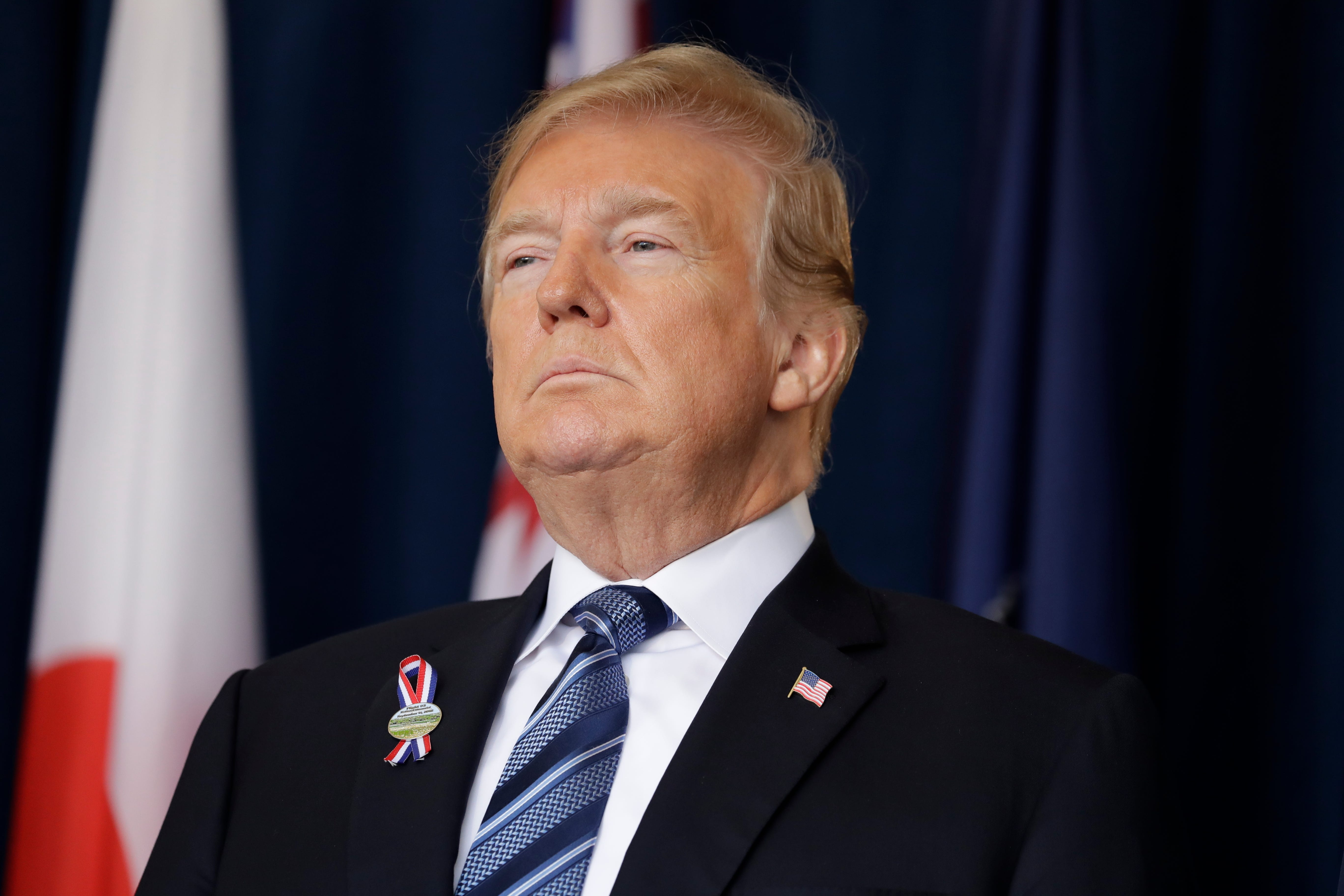 President Donald Trump participates in the September 11th Flight 93 Memorial Service, Sept. 11, 2018, in Shanksville, Pa.