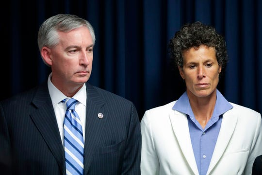 Bill Cosby accuser Andrea Constand and Montgomery County District Attorney Kevin Steele speak to reporters after Cosby's conviction on April 28.