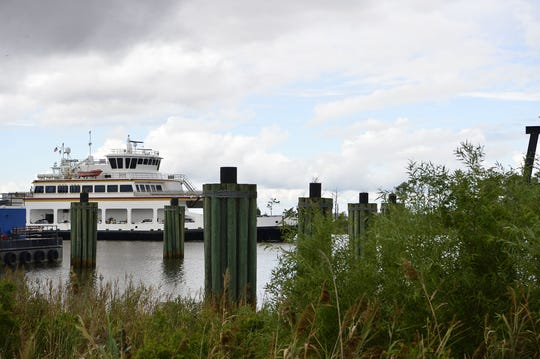 The Swan Quarter ferry arrives at the terminal carrying a full load of passengers from Ocracoke Island, North Carolina, after the mandatory evacuation order in preparation for Hurricane Florence on Tuesday, Sept. 11, 2018.
