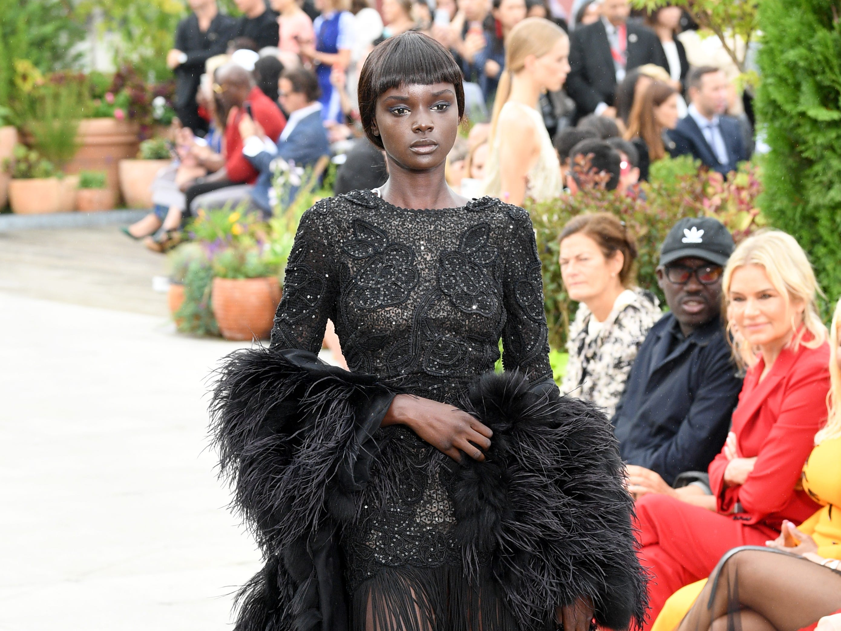 Model Duckie Thot also walked the Oscar De La Renta runway.