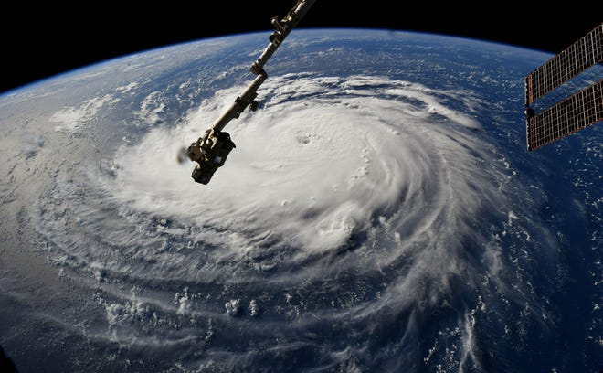 This NASA photo shows a view from the International Space Station of Hurricane Florence off the USA's East Coast on Sept. 10, 2018.