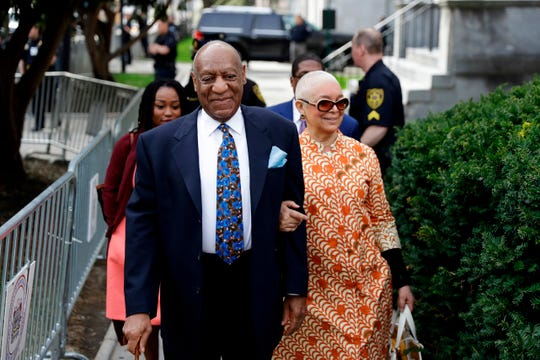 Bill Cosby and wife Camille in April at his trial in Norristown, Pa.