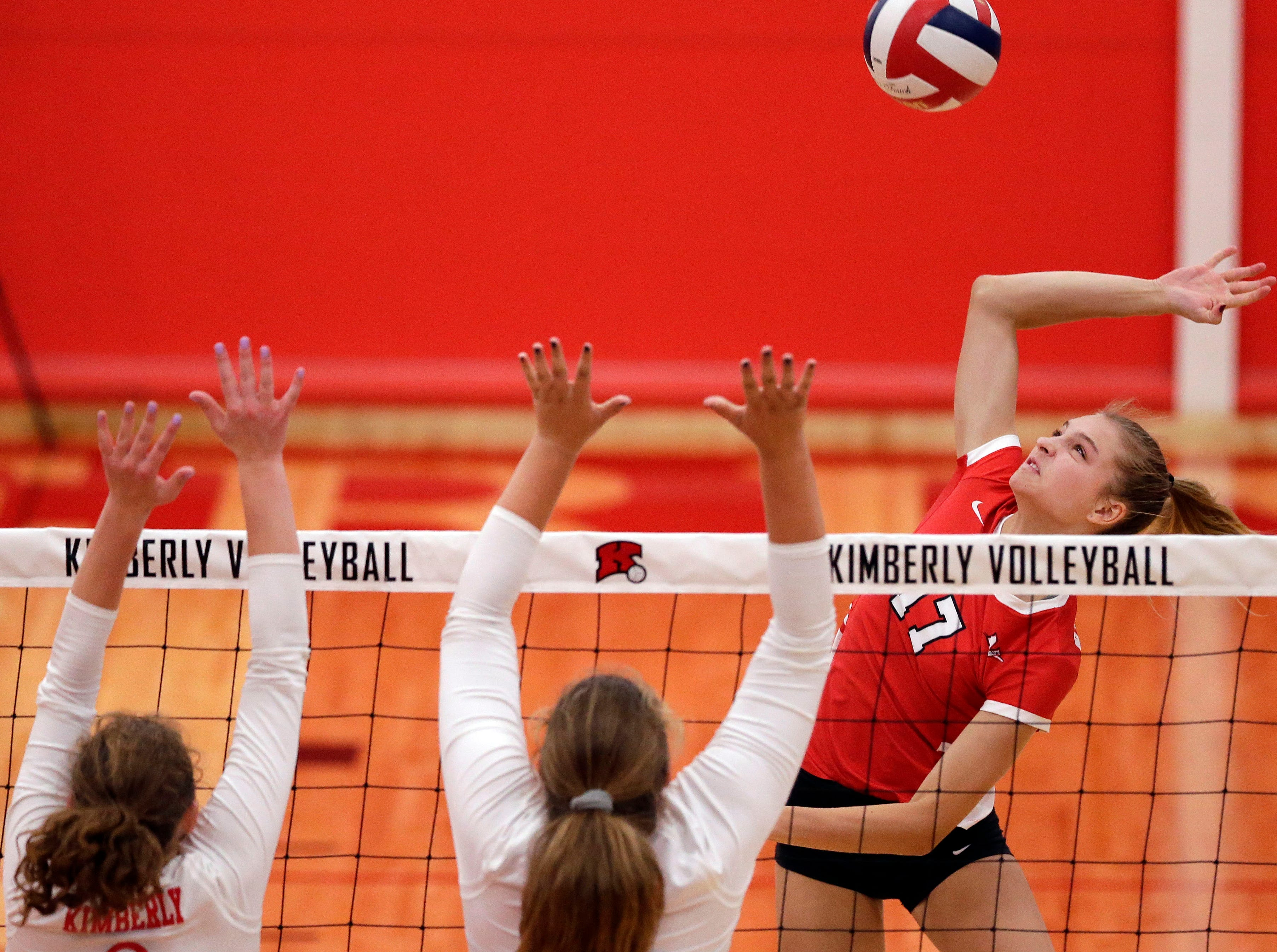 Ava Aldag of Neenah hits against Kimberly in FVA girls volleyball Tuesday, September 11, 2018, at Kimberly High School in Kimberly, Wis.Ron Page/USA TODAY NETWORK-Wisconsin