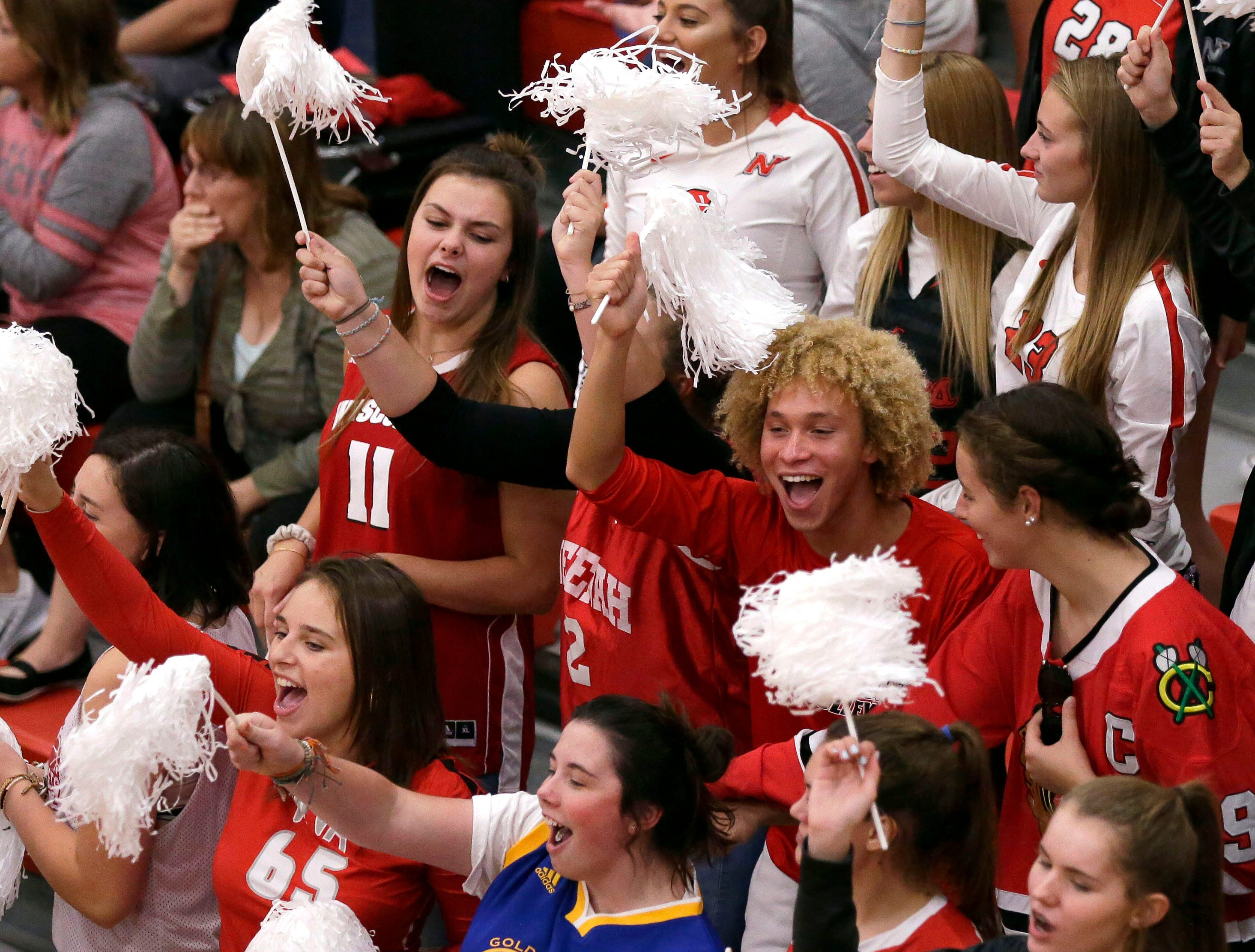 Neenah fans cheer as the Rockets take on Kimberly in FVA girls volleyball Tuesday, September 11, 2018, at Kimberly High School in Kimberly, Wis.Ron Page/USA TODAY NETWORK-Wisconsin