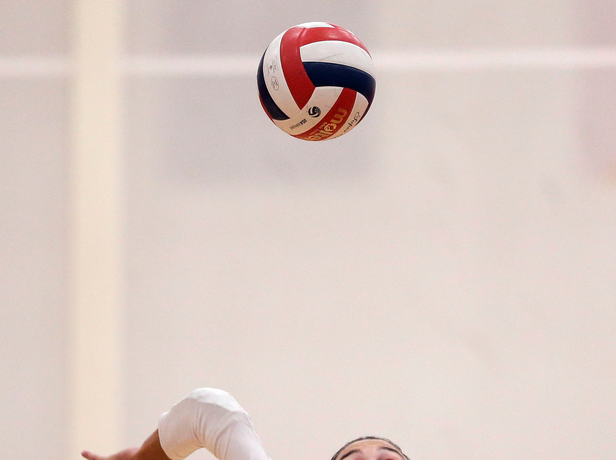 Maggie Cartwright of Kimberly hits against Neenah in FVA girls volleyball Tuesday, September 11, 2018, at Kimberly High School in Kimberly, Wis.Ron Page/USA TODAY NETWORK-Wisconsin