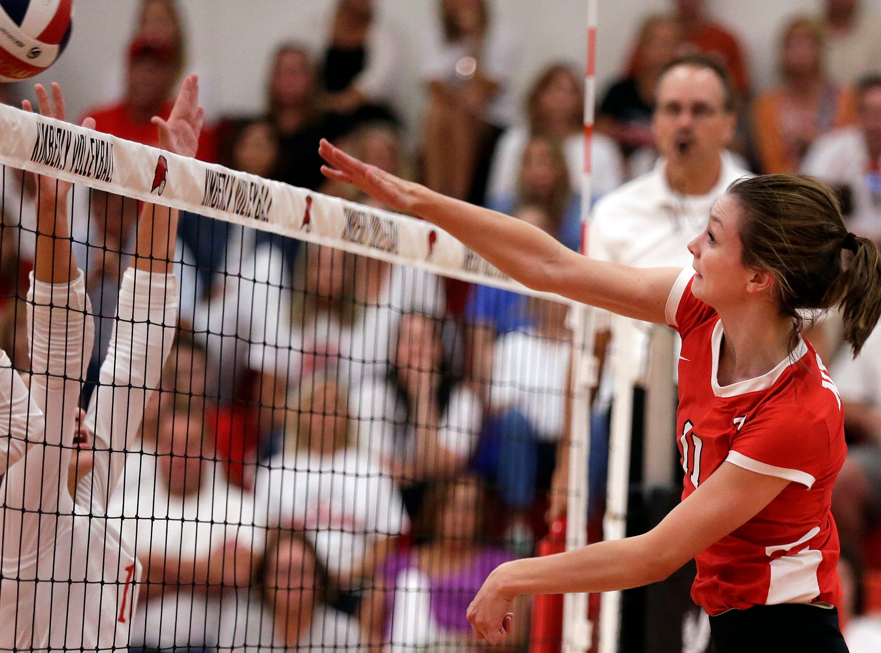 Reagan Obry of Neenah hits against Kimberly in FVA girls volleyball Tuesday, September 11, 2018, at Kimberly High School in Kimberly, Wis.Ron Page/USA TODAY NETWORK-Wisconsin