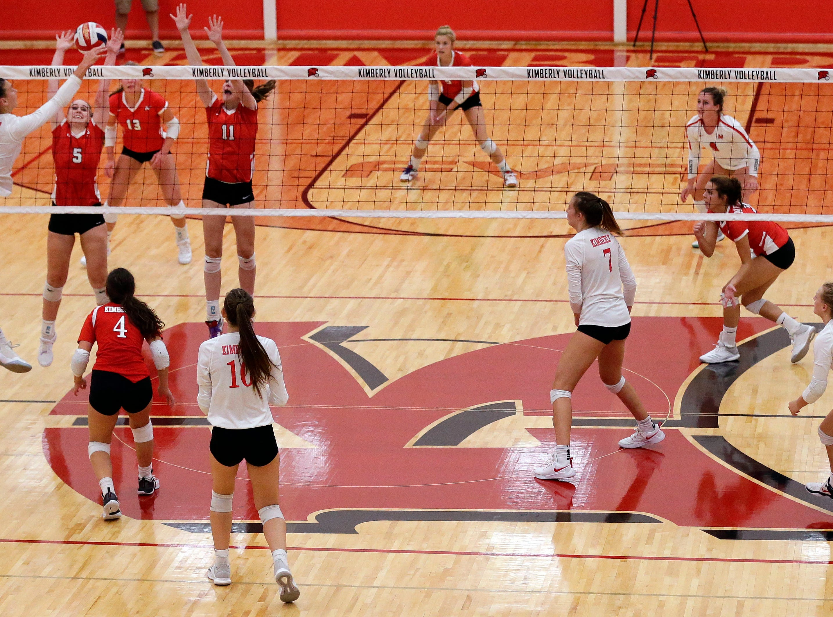 Kimberly, foreground, takes on Neenah in FVA girls volleyball Tuesday, September 11, 2018, at Kimberly High School in Kimberly, Wis.Ron Page/USA TODAY NETWORK-Wisconsin