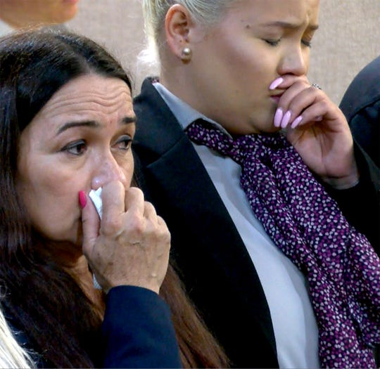 Raquel Garajau's mother and sister (right) wait for the verdict to be read during her trial in State Superior Court in Freehold Wednesday, September 12, 2018.   She was found guilty on all counts including felony murder of Trupal Patel.