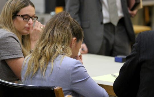 Raquel Garajau cries after the verdict is read during her trial in State Superior Court in Freehold Wednesday, September 12, 2018.  She was found guilty on all counts including felony murder of Trupal Patel.