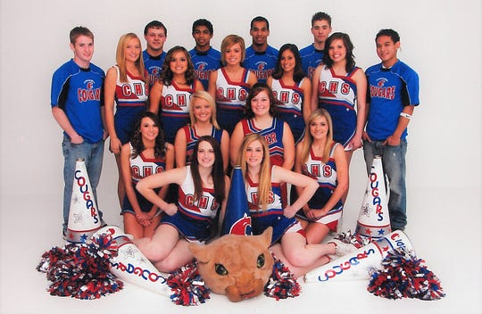 The Cooper High School cheerleaders 10 years ago, with Randi (Stash) Odell on the bottom row, right. She now is the varsity cheerleader coach at Abilene High.