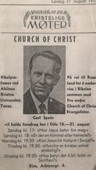 Advertisement for Carl Spain's talk while in Poland in 1957.