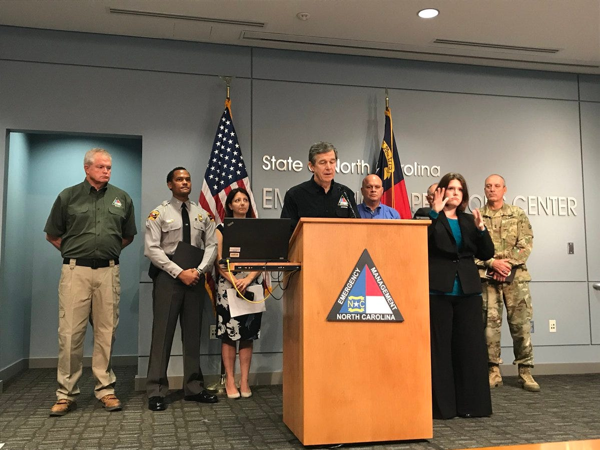 North Carolina Gov. Roy Cooper gives an update on the state's preparations for Hurricane Florence on Wednesday, Sept. 12, 2018. Cooper was expected to travel to Kinston following his press conference.
