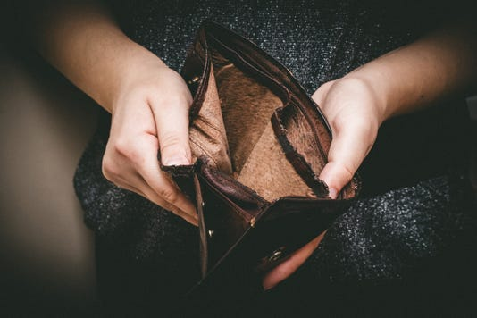 Old Empty Wallet In The Hands Vintage Empty Purse In Hands Of Women Poverty Concept Retirement Special Toning