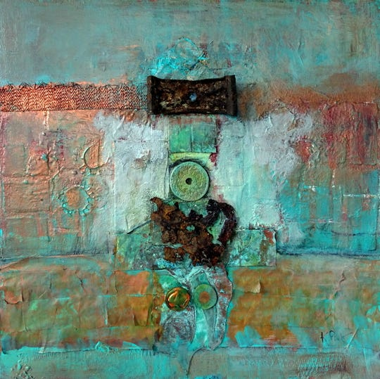 """Among the pieces to be displayed at the Red House Studios & Gallery from Sept. 14 - Nov. 5 is """"Findings,"""" this abstract work by Karen Paquette."""