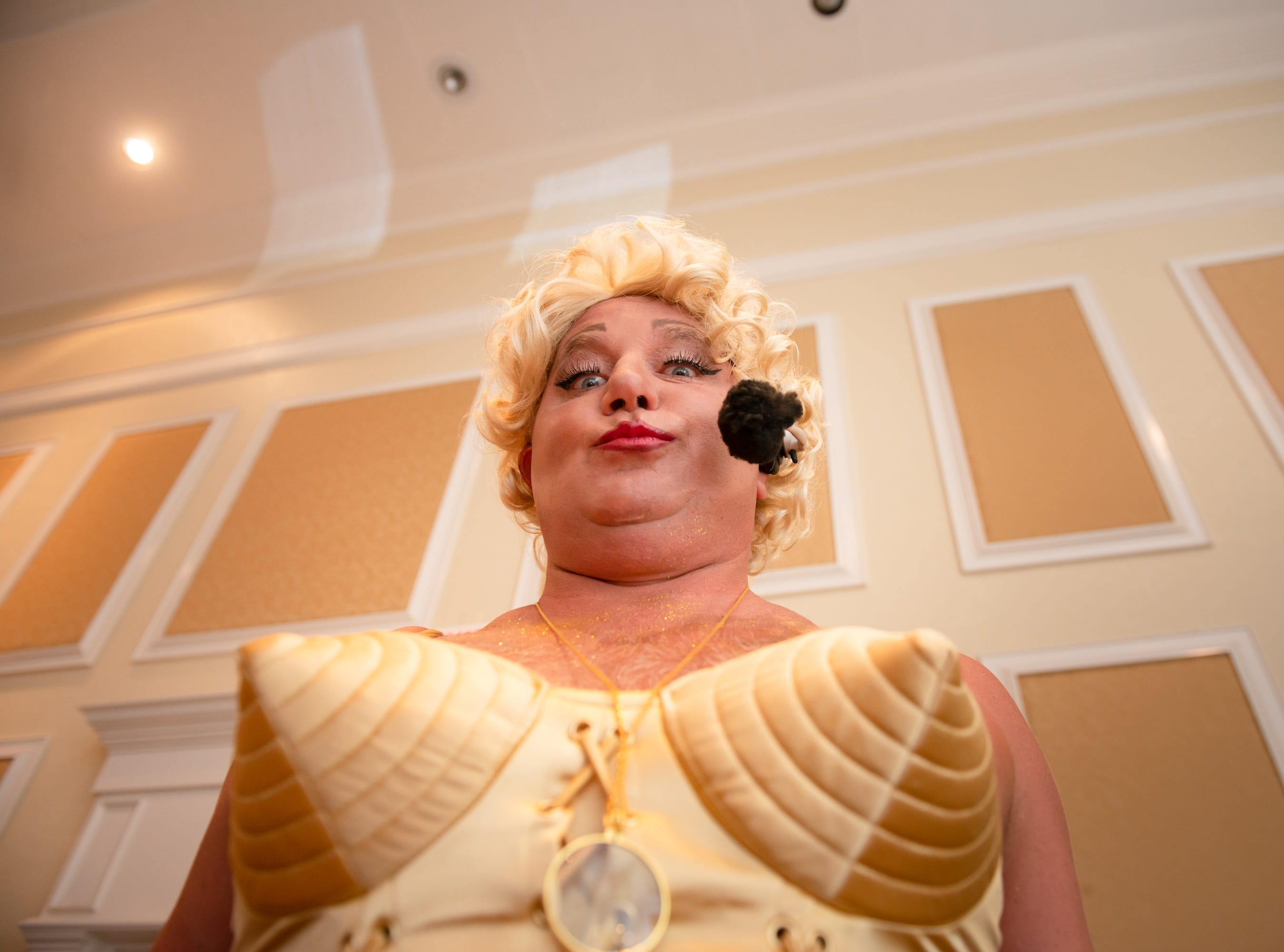 """Tim Dodge as Madonna at """"Dude Looks Like a Lady"""" event benefitting the Women's Center."""
