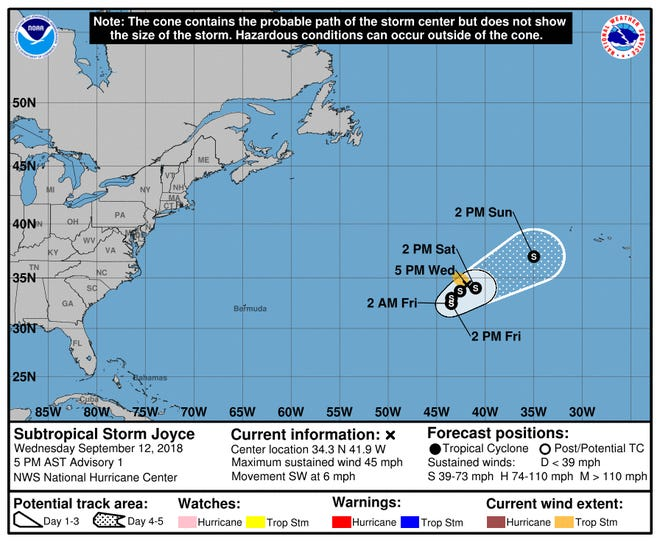 A graphic from the National Hurricane Center shows the position and forecast track of Subtropical Storm Joyce as of 5 p.m. Wednesday, Sept. 12.