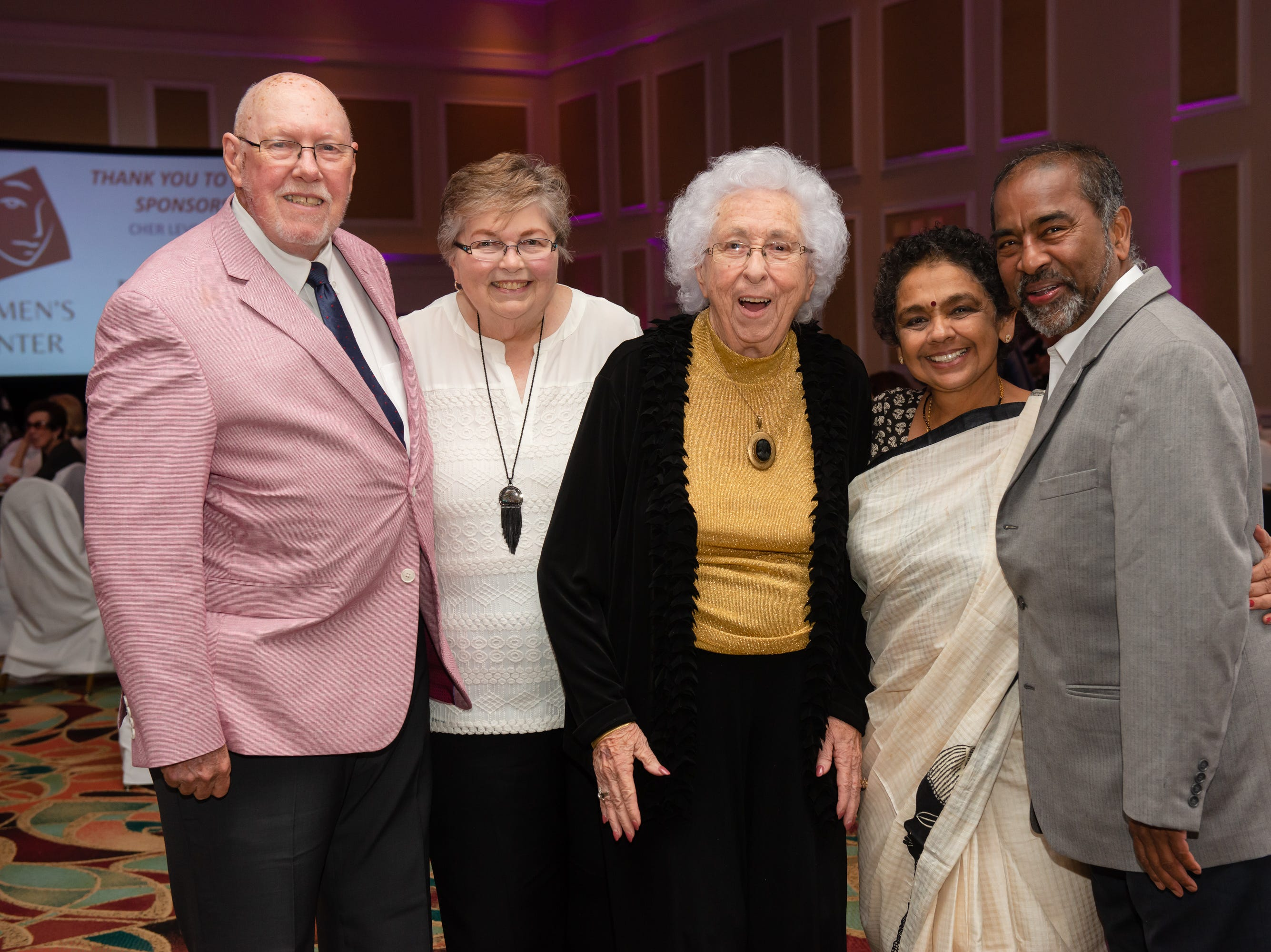 """Bill Terry, Rachel Terry, Dr. Pat Manning, Ambika Ravindran and Dr. Ravindran Palaniyandi at """"Dude Looks Like a Lady"""" event benefitting the Women's Center."""