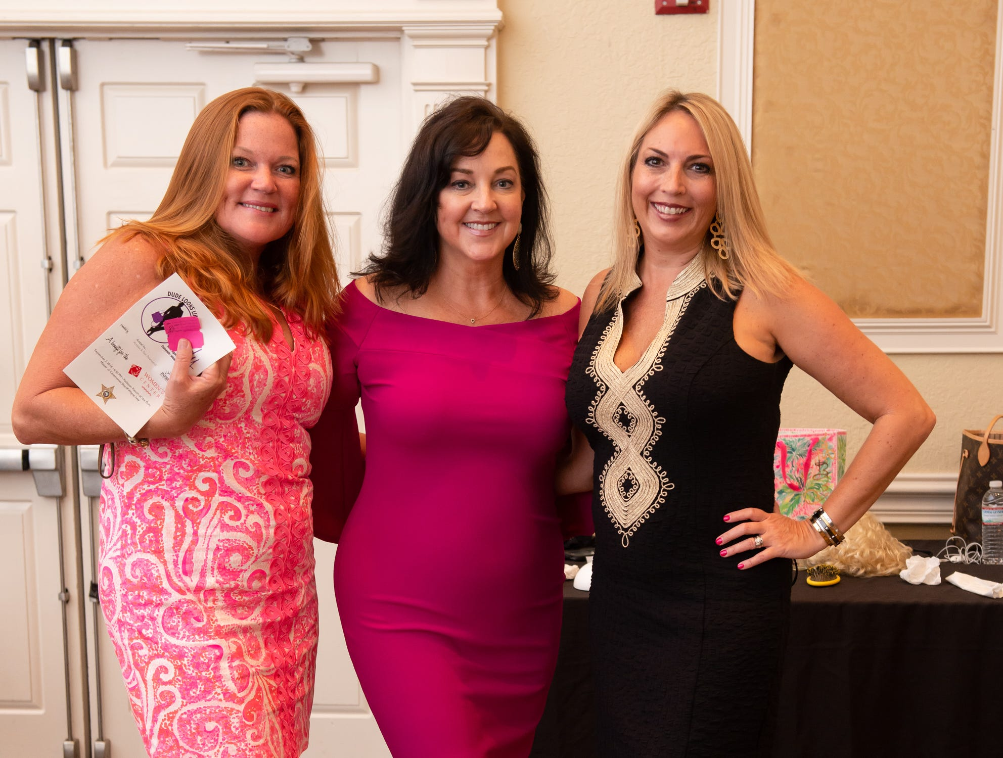 """Kelly Camirand, Lori Sutherland and Jennifer Dodge at """"Dude Looks Like a Lady"""" event benefitting the Women's Center."""