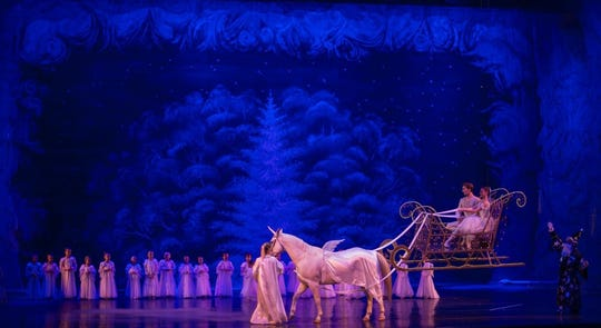 "The Space Coast Ballet's annual ""Nutcracker"" production features a unicorn-drawn sleigh pulled by Tucker."