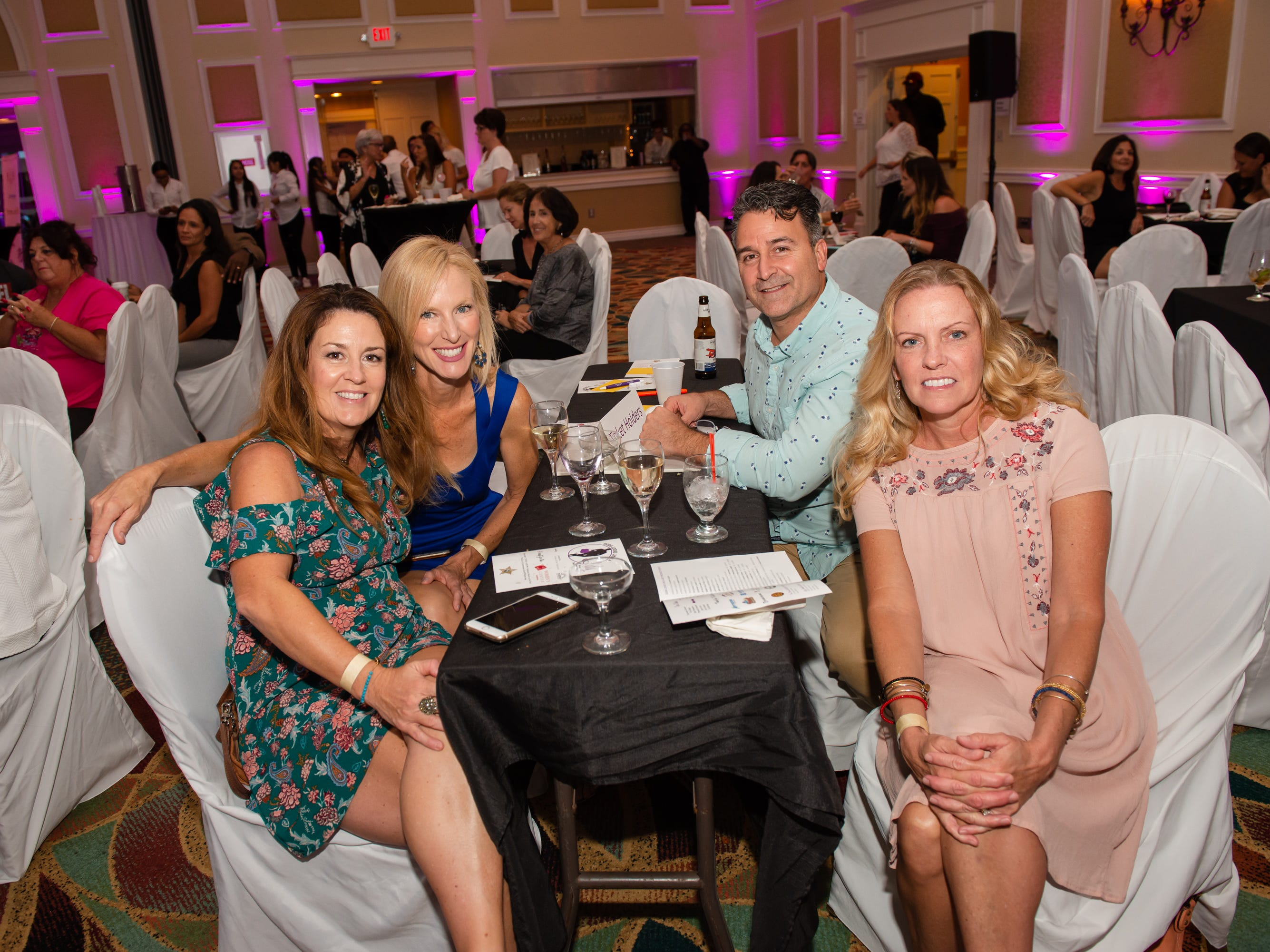 """Kimberly Maoumoff, Amy Sequeira, Michael Ursillo and Sabrina Quigg at """"Dude Looks Like a Lady"""" event benefitting the Women's Center."""