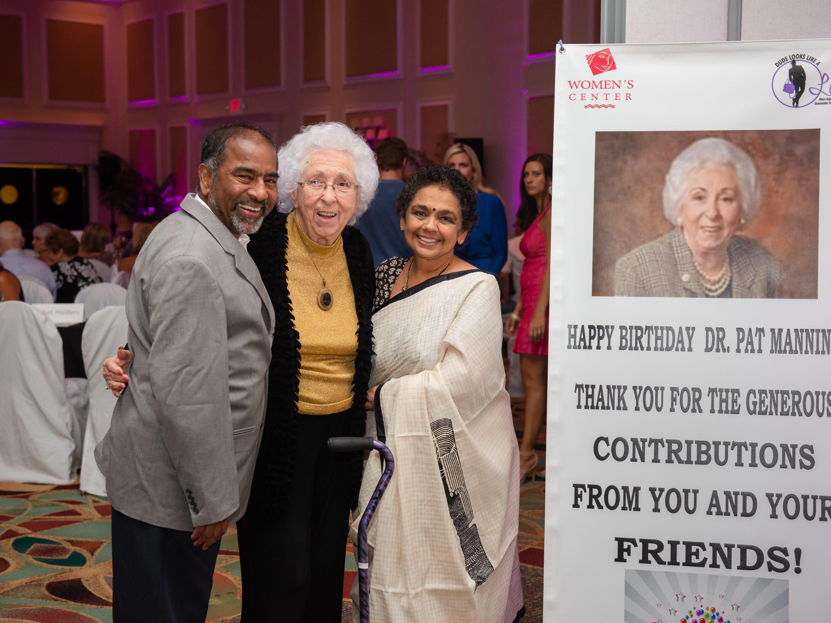 "Dr. Ravindran Palaniyandi, Dr. Pat Manning and Ambika Ravindran at ""Dude Looks Like a Lady"" event benefitting the Women's Center."