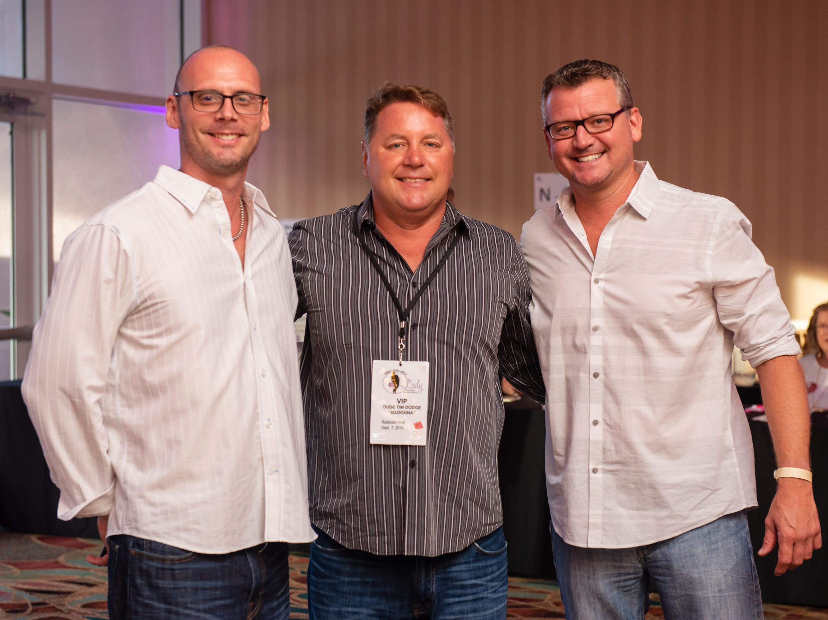 """Eric Camirand, Tim Dodge and John Fielding at """"Dude Looks Like a Lady"""" event benefitting the Women's Center."""