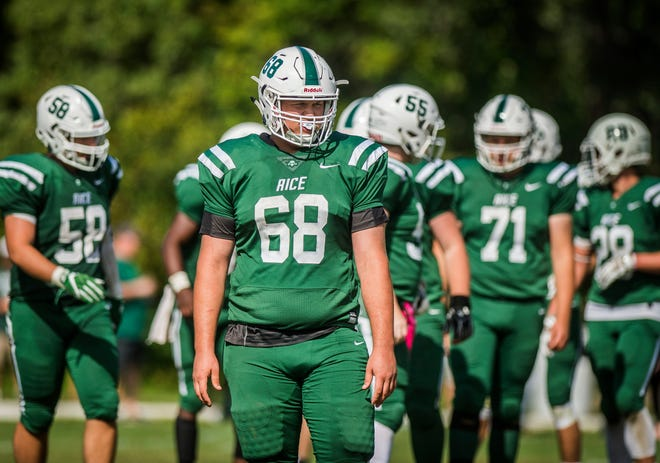 At 6-foot-5, 300 pounds, senior Evan Eaton (68) is a two-way lineman for the Rice High School football team.