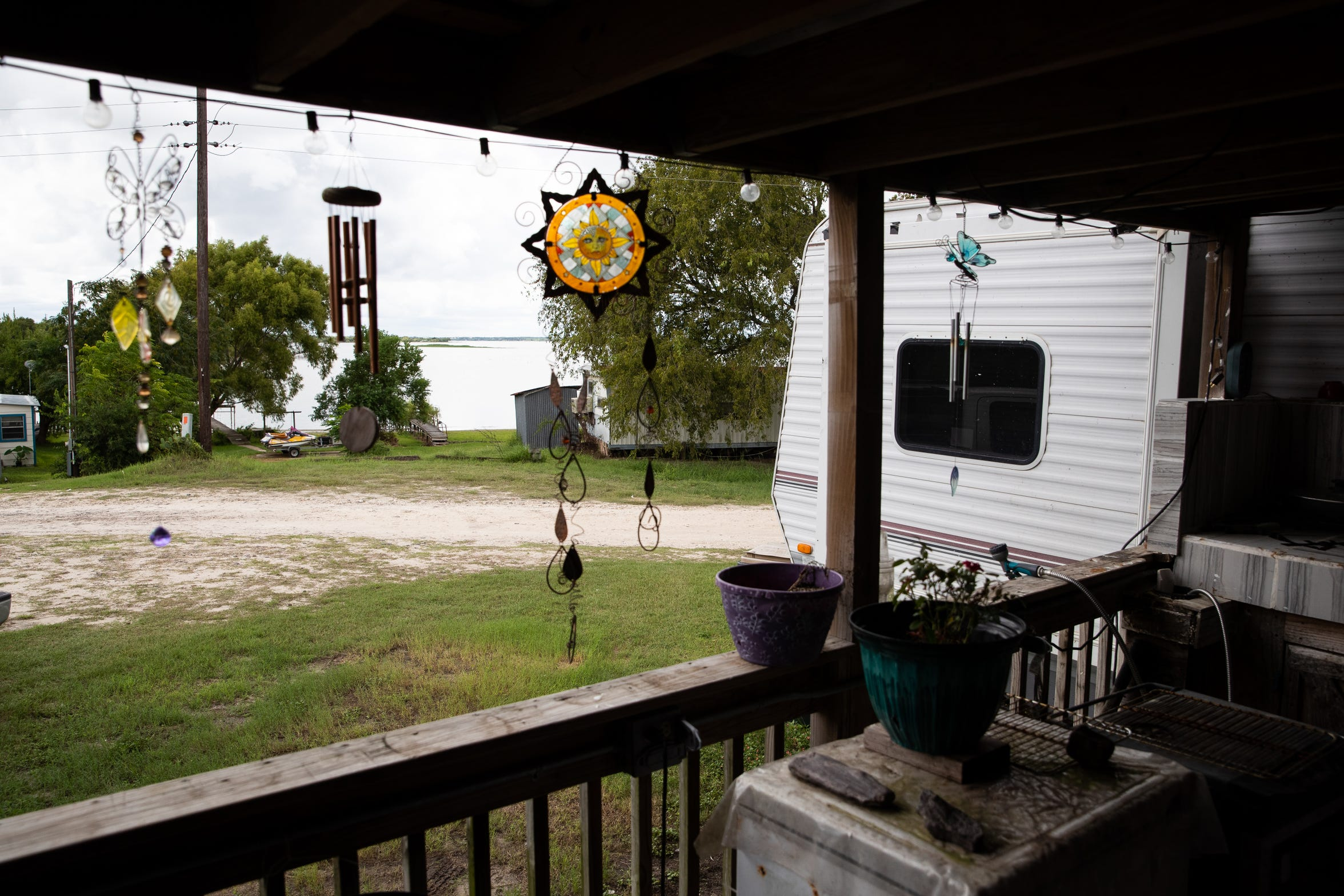 Lake Corpus Christi is seen from the deck of Lesley Jones' home in the Hideaway Hills Subdivision north of Mathis on Wednesday, Sept. 12, 2018. In the last two years, more than 50 cats and dogs have died in what residents believe is an act of intentional poisoning.