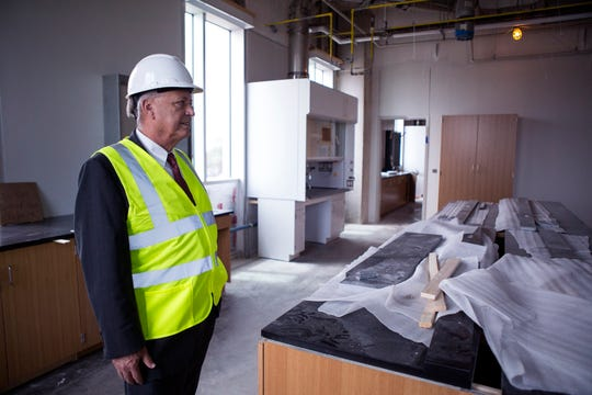 Frank Pezold, dean of the college of science and engineering for Texas A&M University-Corpus Christi's, toursTidal Hall on Wednesday, September 12, 2018. The $60 million facility will feature state-of-the-art classrooms, laboratories and collaborative spaces.