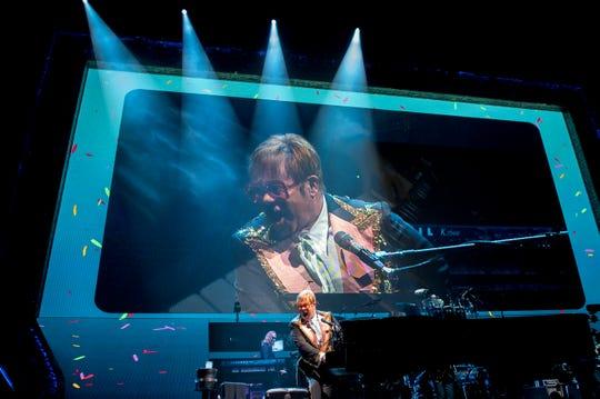 Elton John performs during his 'Farewell Yellow Brick Road' tour Tuesday, Sept. 11, 2018 at the Wells Fargo Center in Philadelphia, Pa.