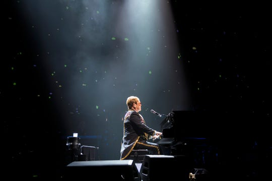 Elton John performs during his 'Farewell Yellow Brick Road' tour Tuesday, Sept. 11, 2018 at the Wells Fargo Center in Philadelphia, Pa.