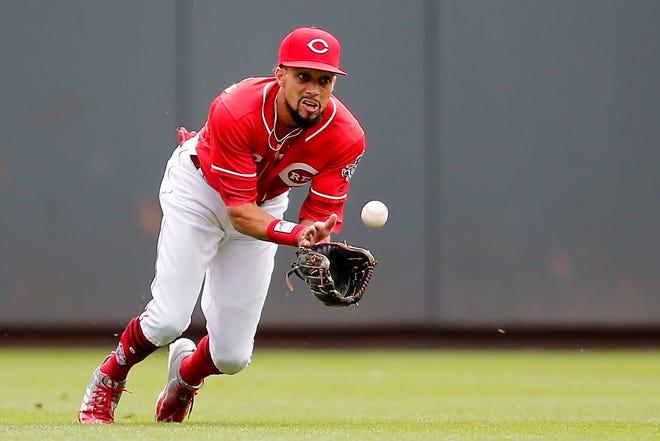 Cincinnati Reds center fielder Billy Hamilton (6) dives in to catch a fly ball  on Wednesday, Sept. 12, 2018.