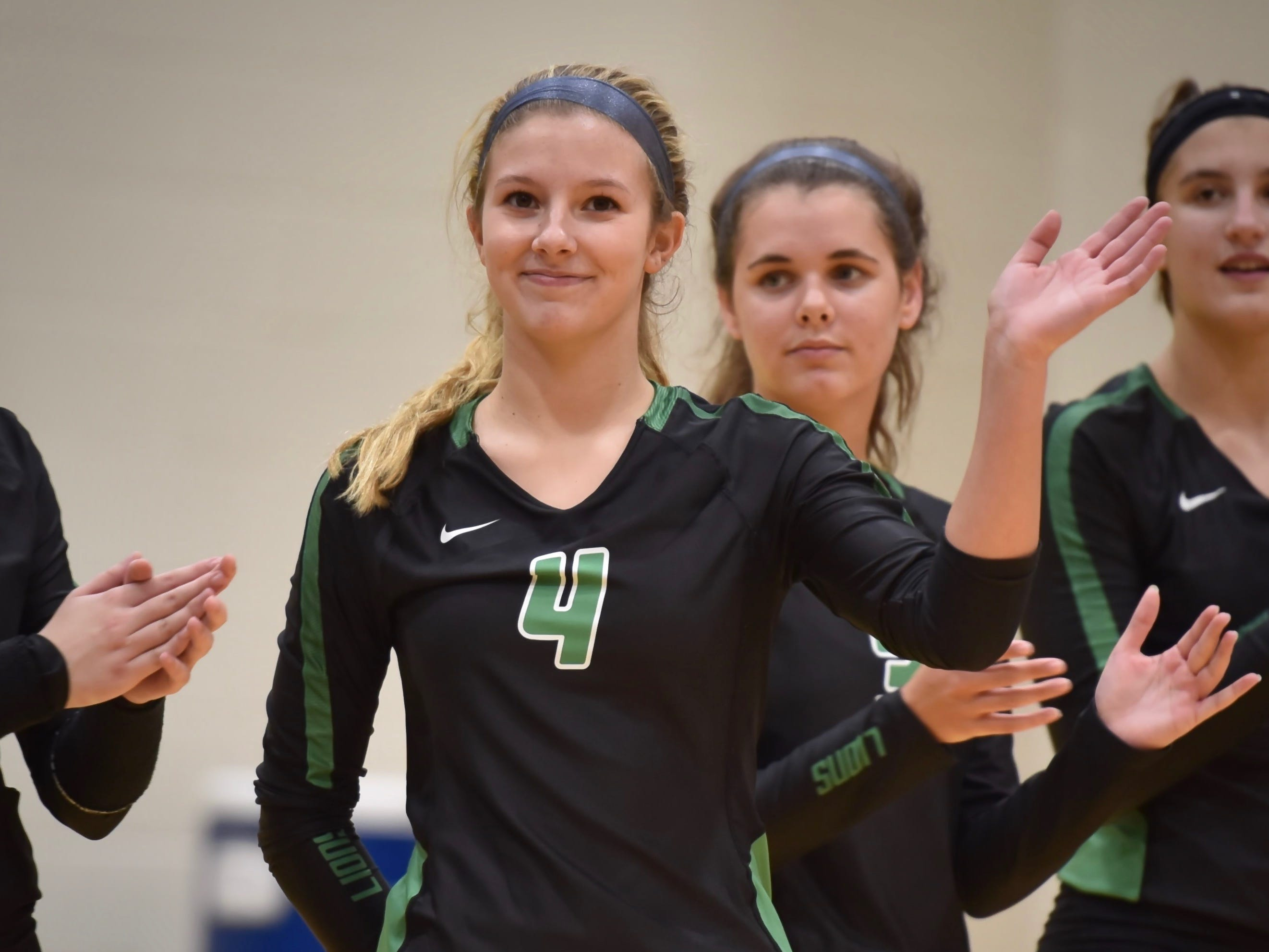 Ursuline's Sydney McCarthy is introduced to the floor Tuesday, Sept. 11, 2018 at Ursuline Academy
