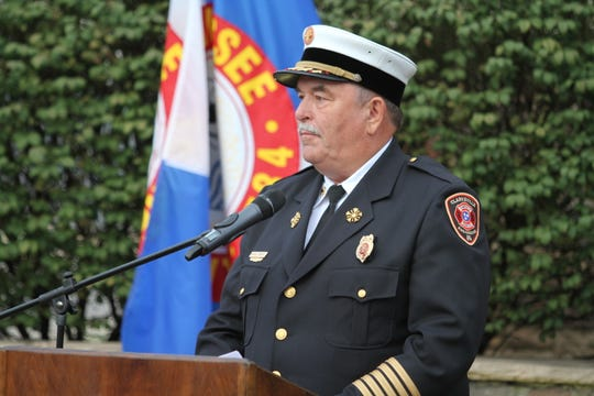 Clarksville Fire Rescue Chief Michael Roberts at the Clarksville Fire Rescue 9/11 Memorial Ceremony September 11, 2018.