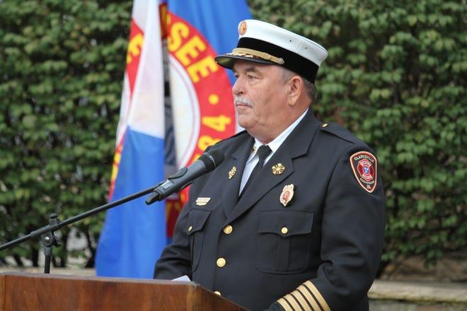 Clarksville Fire Rescue Chief Michael Roberts at the Clarksville Fire Rescue 9/11 Memorial Ceremony September 11, 2018.