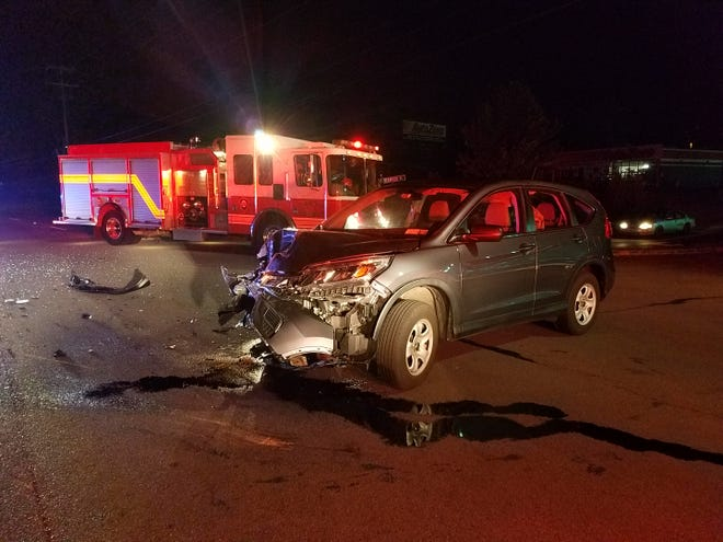 One of the cars that crashed on the Bypass Wednesday morning.