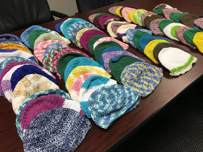 These are the 79 chemo caps I have on hand, including some from Sister Mildred and from Barbara Antoniello.