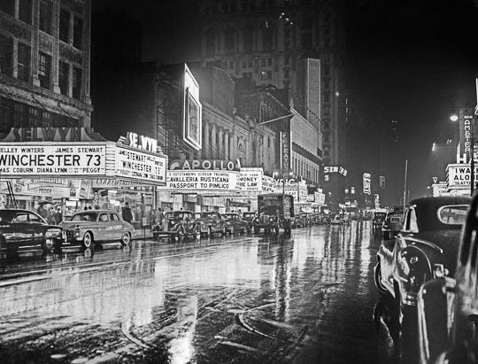 "Walter Chandoha, ""42nd Street Movie Marquees,"" photograph of New York,  circa 1950"