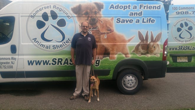 Brian Bradshaw, shelter manager of Somerset Regional Animal Shelter, with South Carolina dog, Natches, right before the dogs were transported to Somerset Regional. Natches is a one-year-old shepherd mix.