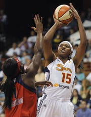 Asjha Jones while playing for the Sun during her WNBA career