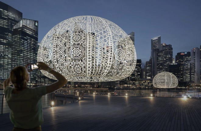 "Jin Choi and Thomas Shine, ""The Urchins,"" giant crocheted installation on display at Singapore's iLight Marina Bay Festival"