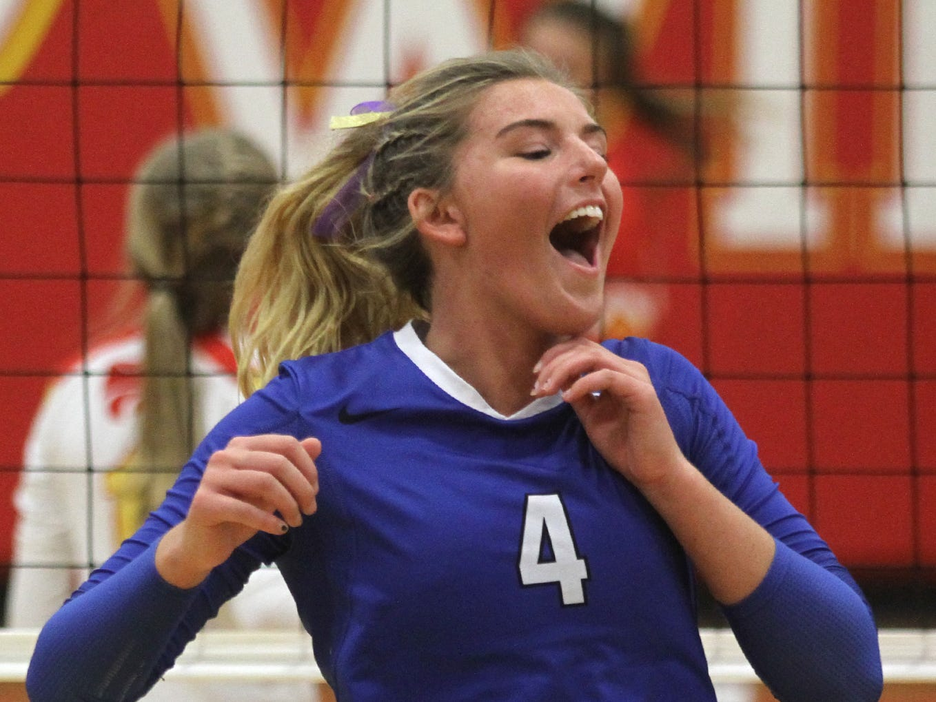 Bondurant-Farrar senior Kate Tidman reacts to a point. Class 3A eighth-ranked Bondurant-Farrar won in three games at Carlisle on Sept. 11.